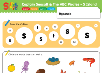 "Captain Seasalt And The ABC Pirates ""S"" - Color, Circle, Write, Trace"