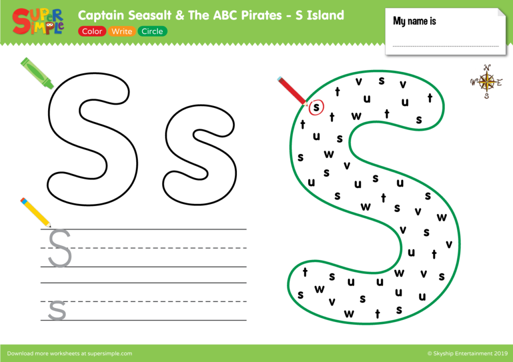 "Captain Seasalt And The ABC Pirates ""S"" - Color, Write, Circle"