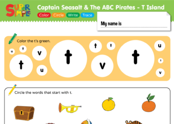 "Captain Seasalt And The ABC Pirates ""T"" - Color, Circle, Write, Trace"