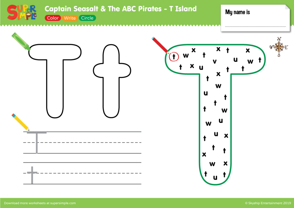 """Captain Seasalt And The ABC Pirates """"T"""" - Color, Write, Circle"""