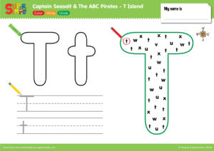 "Captain Seasalt And The ABC Pirates ""T"" - Color, Write, Circle"