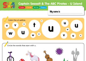 "Captain Seasalt And The ABC Pirates ""U"" - Color, Circle, Write, Trace"