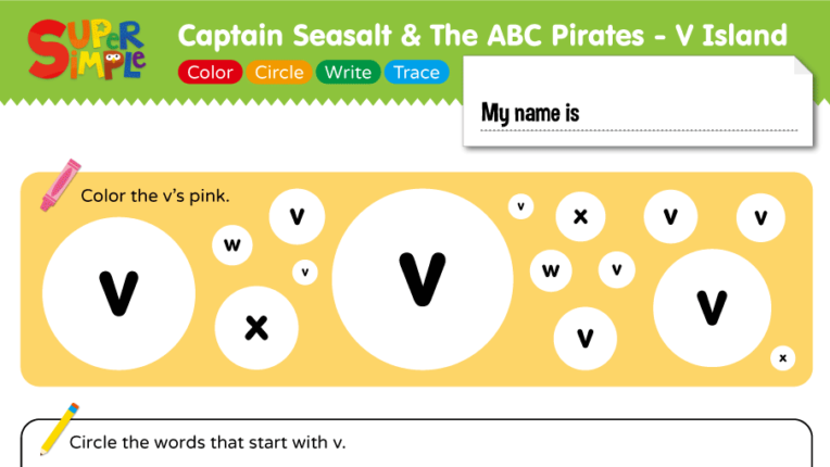 "Captain Seasalt And The ABC Pirates ""V"" - Color, Circle, Write, Trace"