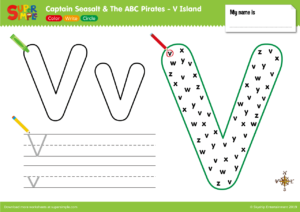 """Captain Seasalt And The ABC Pirates """"V"""" - Color, Write, Circle"""