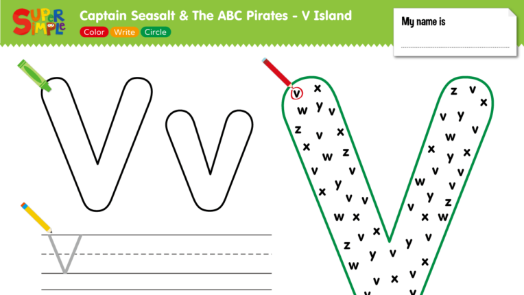 "Captain Seasalt And The ABC Pirates ""V"" - Color, Write, Circle"