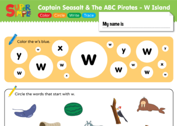 "Captain Seasalt And The ABC Pirates ""W"" - Color, Circle, Write, Trace"