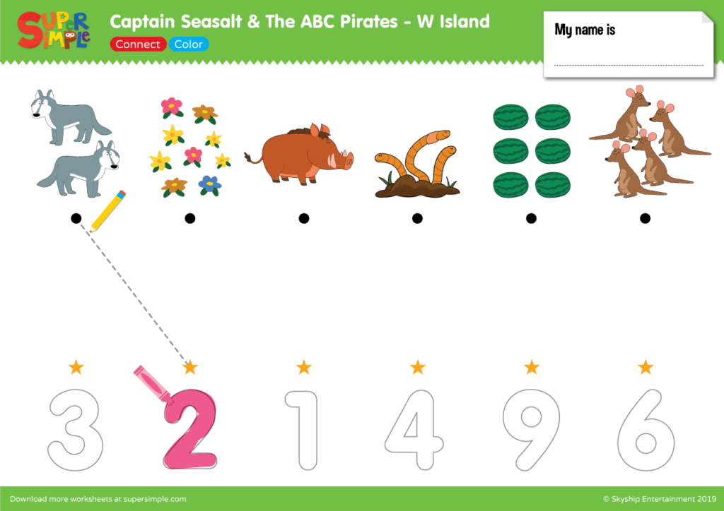 """Captain Seasalt And The ABC Pirates """"W"""" - Connect, Color"""