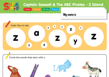 """Captain Seasalt And The ABC Pirates """"Z"""" - Color, Circle, Write, Trace"""