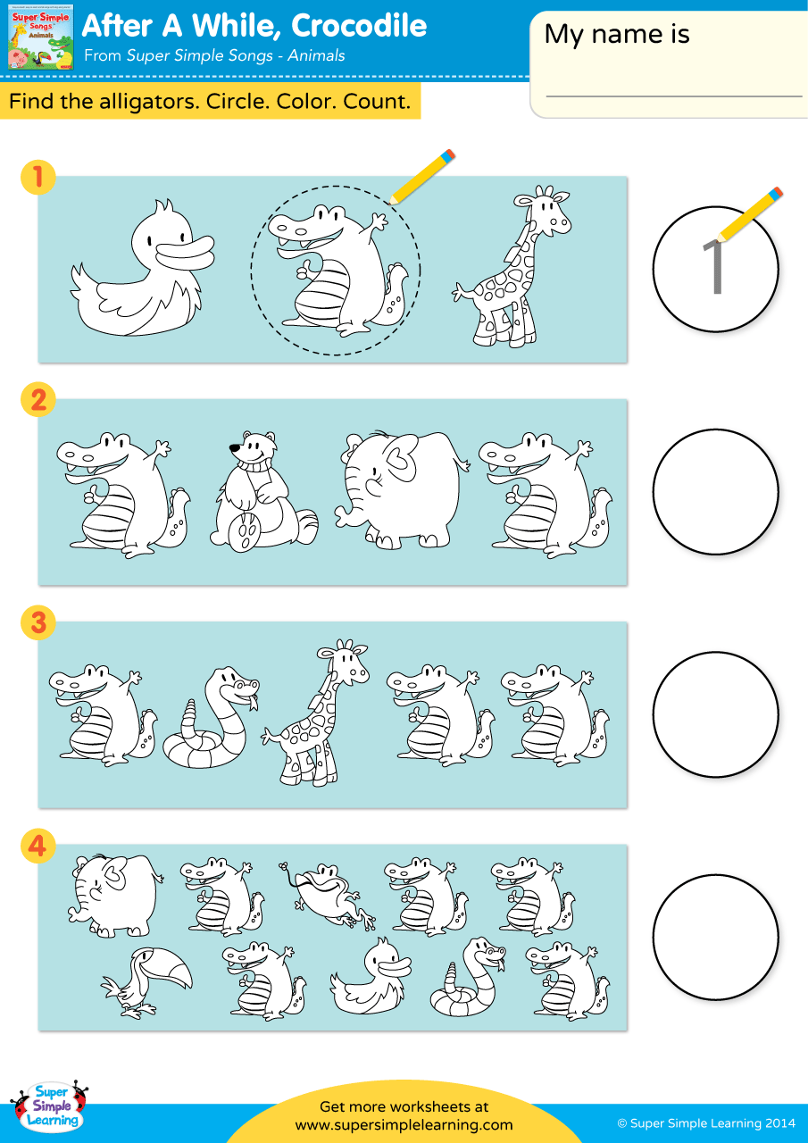 After A While, Crocodile Worksheet – Circle & Write | Super Simple