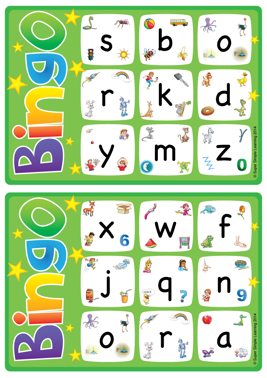 Games crafts resource type super simple alphabetvocabulary bingo game lowercase letters a z spiritdancerdesigns Image collections