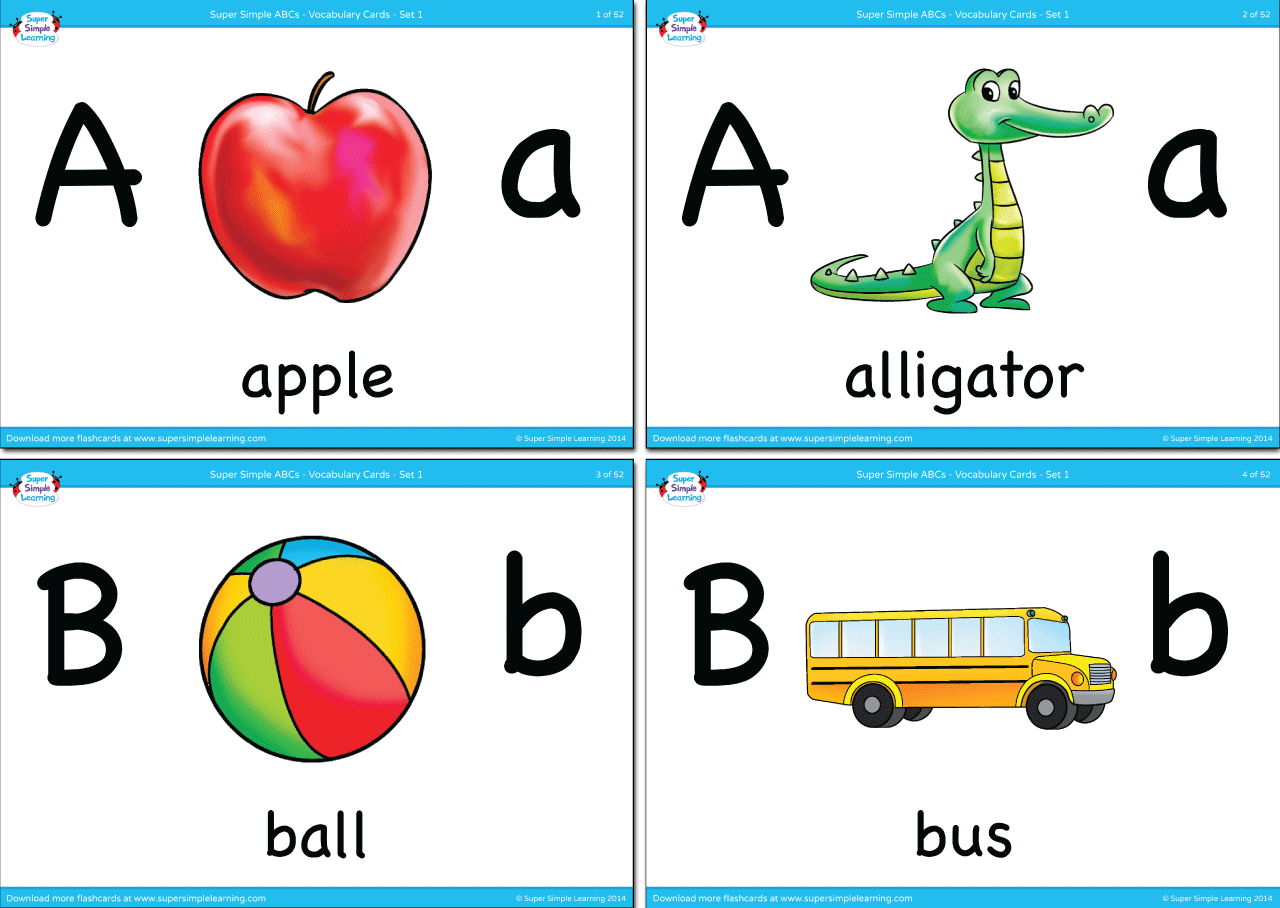 alphabet vocabulary flashcards - set 1