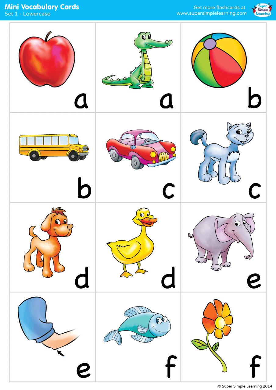 Alphabet Vocabulary Mini Cards Set 1 (Lowercase) | Super ...