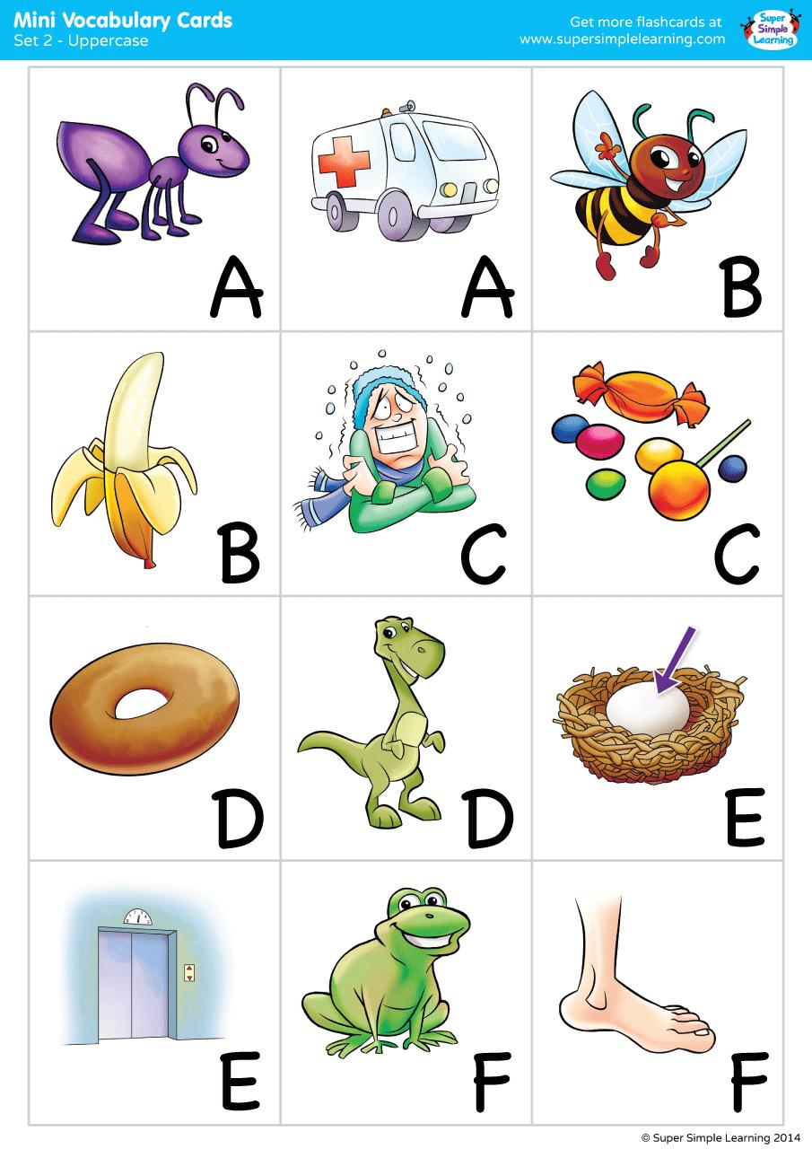 Alphabet Vocabulary Mini Cards Set 2 Uppercase Super