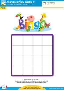 Animal Bingo Game 1 Super Simple