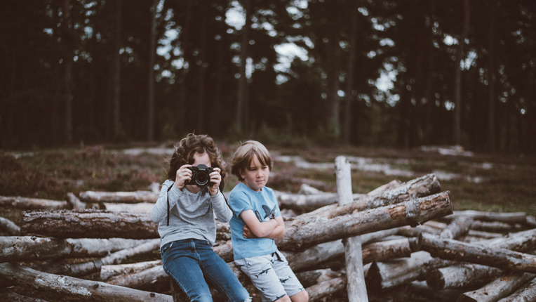 Two Children Taking photos