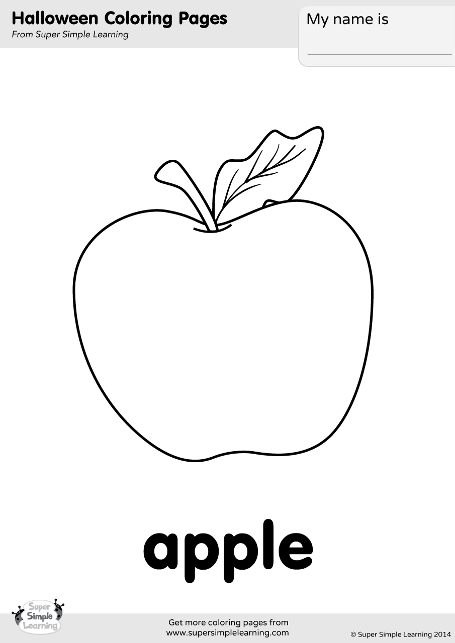 Apple Coloring Page Super Simple