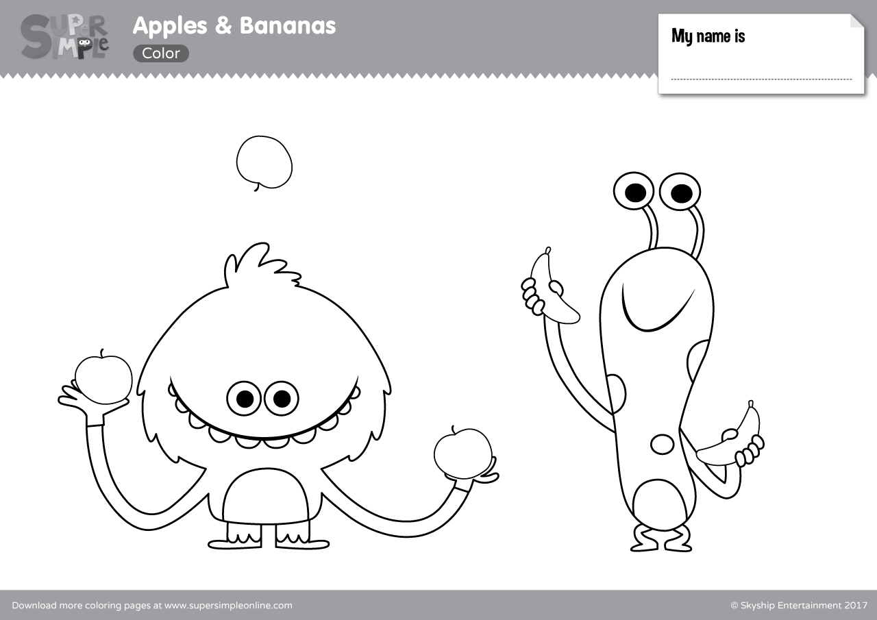 Apples Bananas Coloring Pages Super Simple