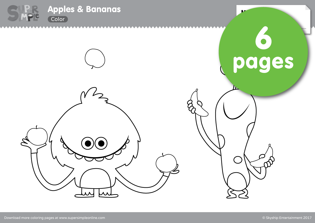 Apples Bananas Coloring Pages