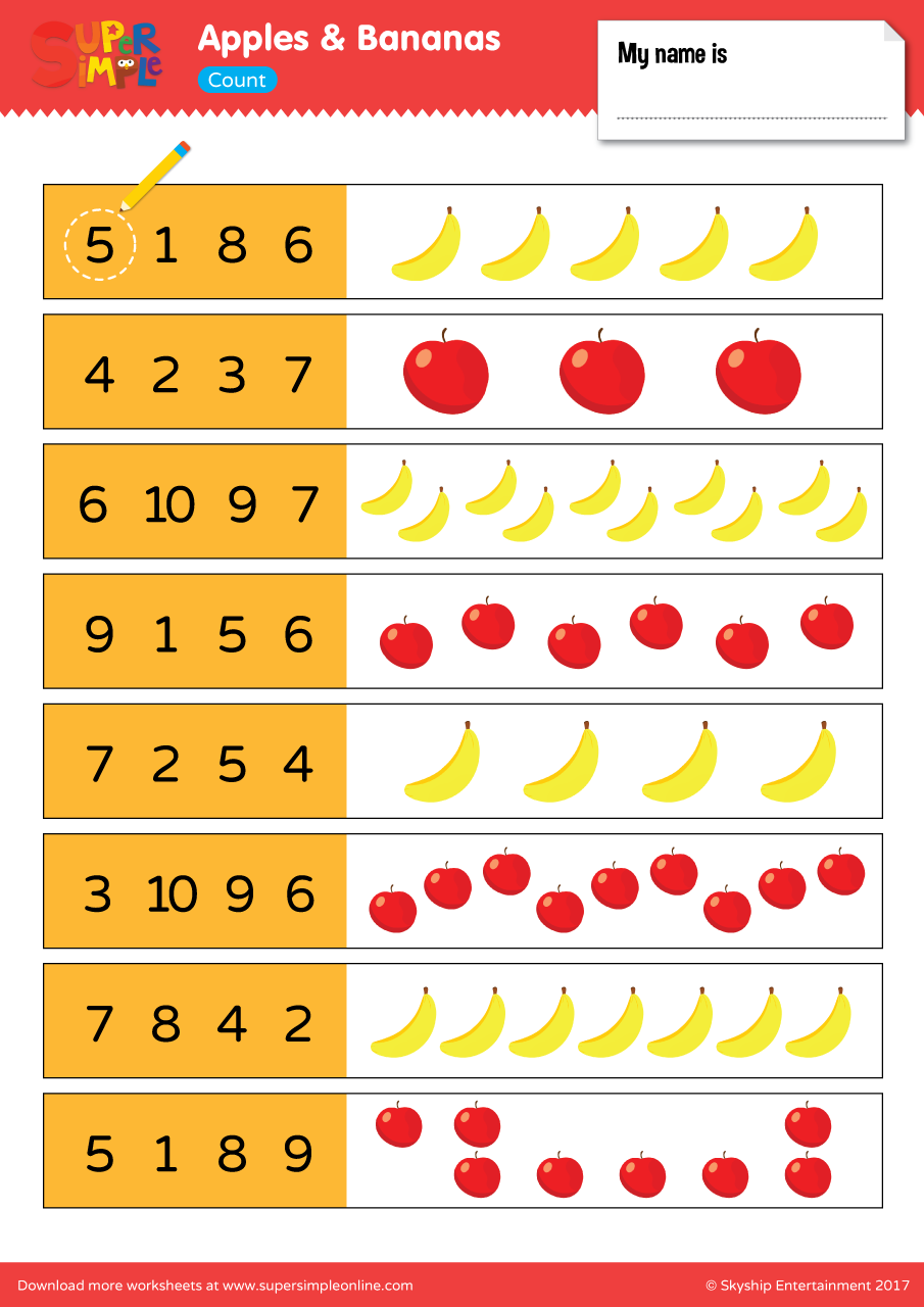 Apples And Bananas Worksheet Count on number tree worksheets