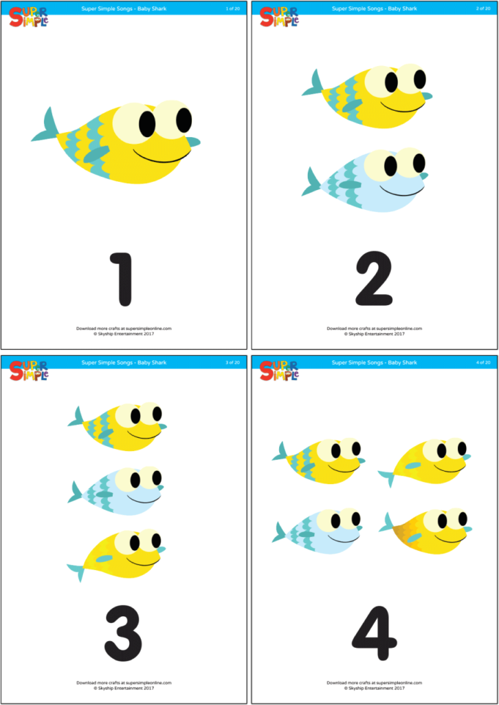 photo relating to Printable Numbers 1 20 Flashcards named Child Shark - Counting Flashcards - Tremendous Basic