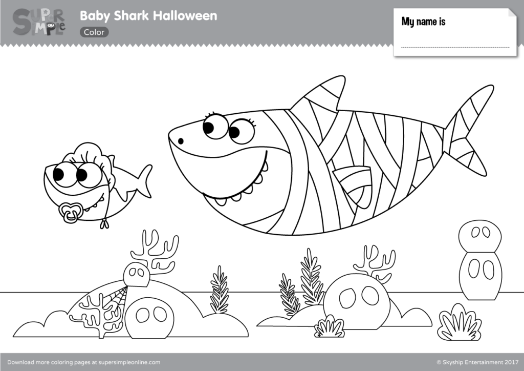 Baby Shark Halloween Coloring Pages - Super Simple