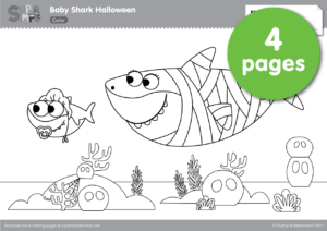 Baby Shark And Friends Are Ready For Some Halloween Trick Or Treating On The Reef Join In The Adventure With This Set Of Coloring Pages