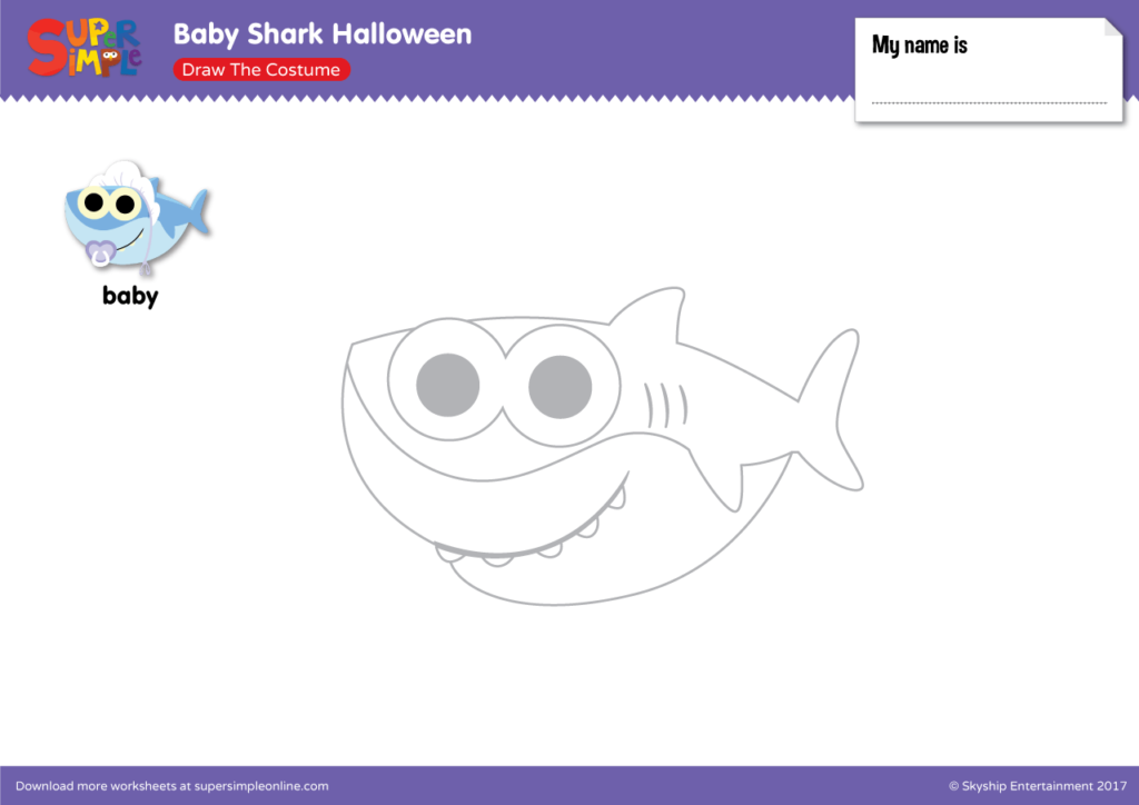 Baby Shark Halloween - Draw The Costume - Super Simple