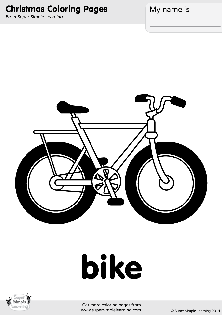 Bike Coloring Page Super Simple
