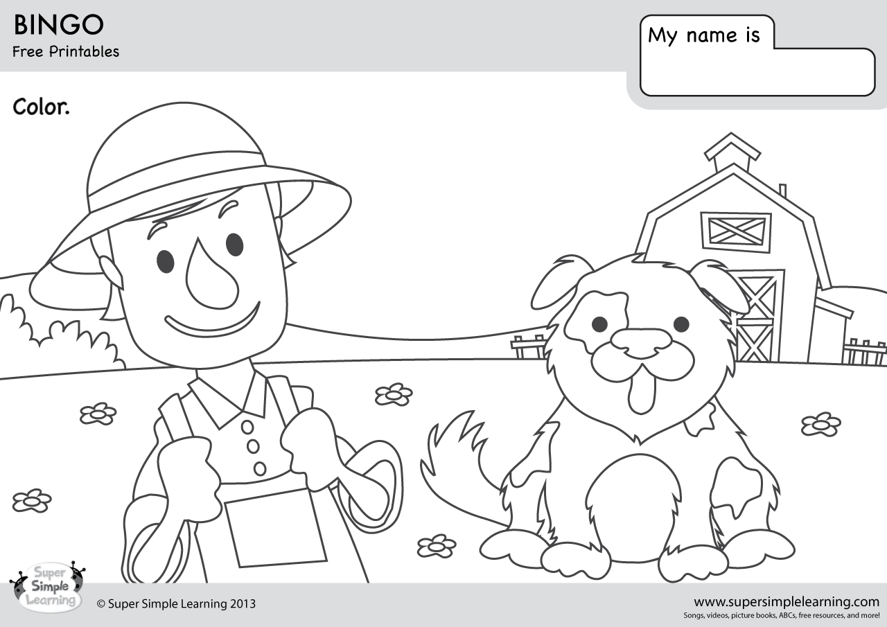 BINGO Coloring Pages | Super Simple