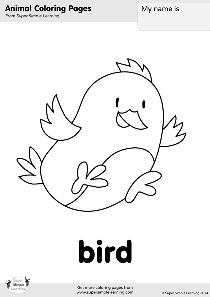 Bird Coloring Page Super Simple