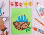 Bird Nest Craft with Hand Cut Out Baby Birds