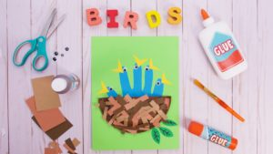 Bird Nest Craft with Hand Cut Out Baby Birds