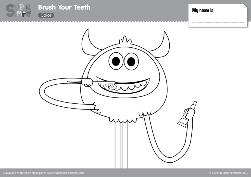Brush Your Teeth Coloring Pages - Super Simple