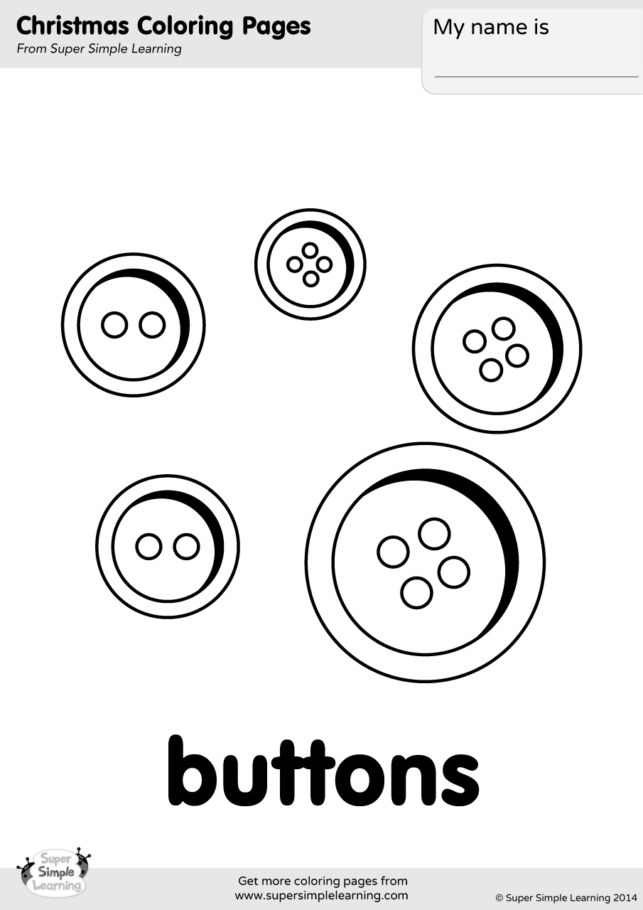 Buttons Coloring Page Super Simple