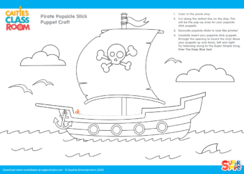 Pirate ship popsicle stick coloring page