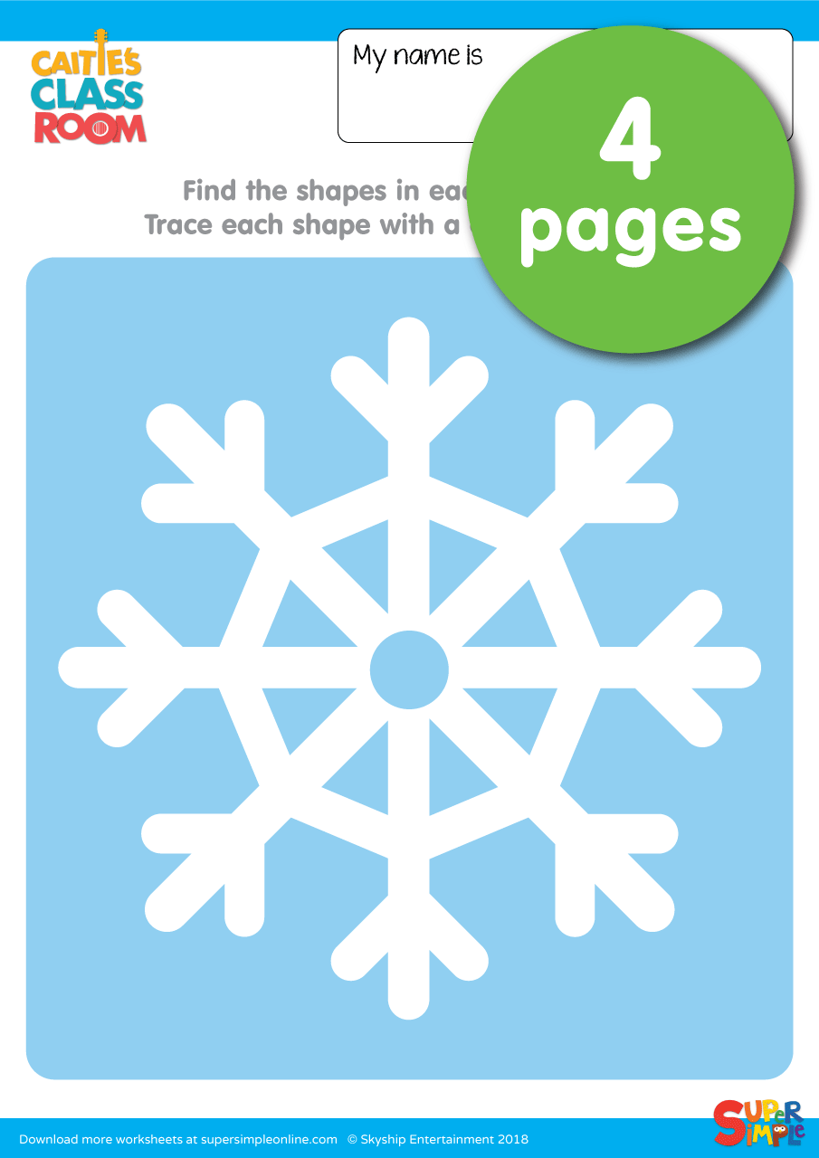 Snowflake Worksheets Trace The Shapes Super Simple
