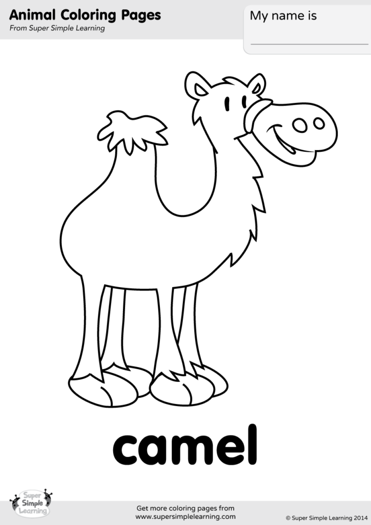 Camel Coloring Page Super Simple