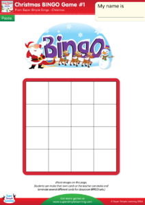Christmas bingo game 1 super simple make your own christmas bingo cards with this do it yourself set cut out the small pictures and glue them onto the board kids can make their own board solutioingenieria Images