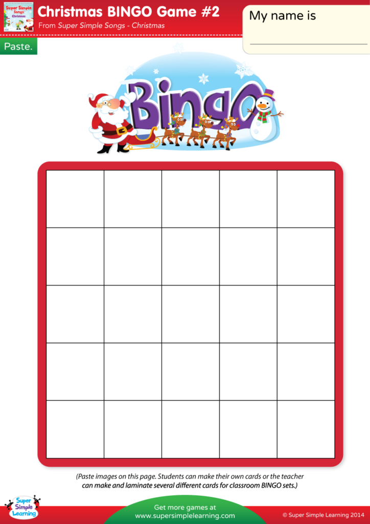 graphic relating to Free Printable Left Right Christmas Game identified as Xmas BINGO Match #2 - Tremendous Uncomplicated