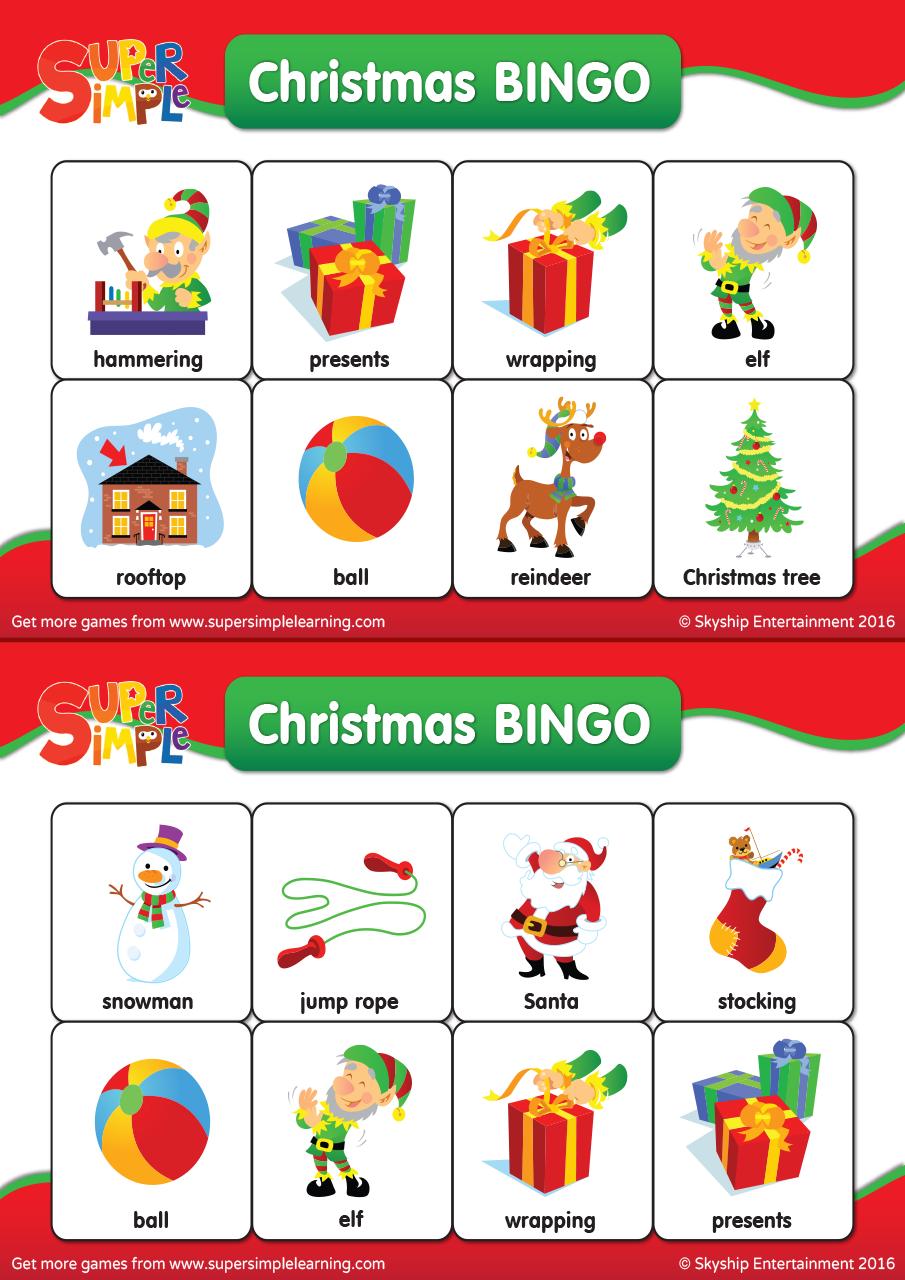 Christmas Bingo Cards Super Simple