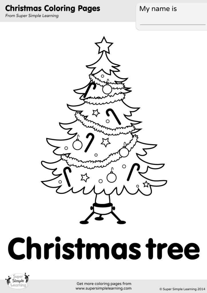 Christmas Tree Coloring Page - Super Simple