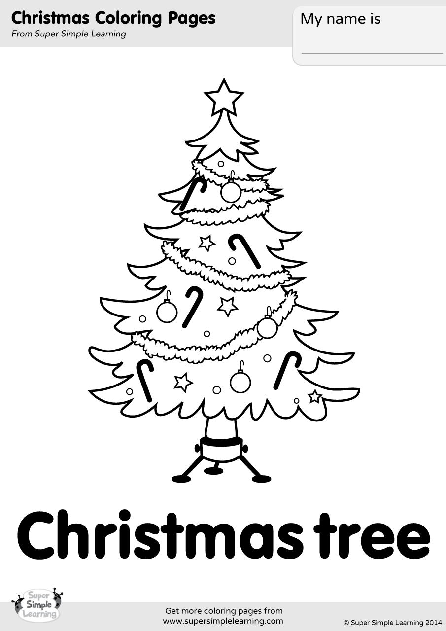 Christmas Tree Coloring Page | Super Simple