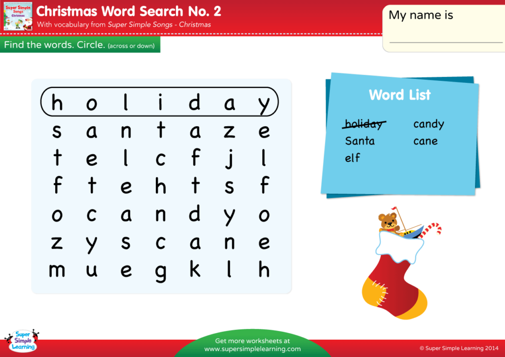 Christmas Words A Z.Christmas Word Search 2 Super Simple