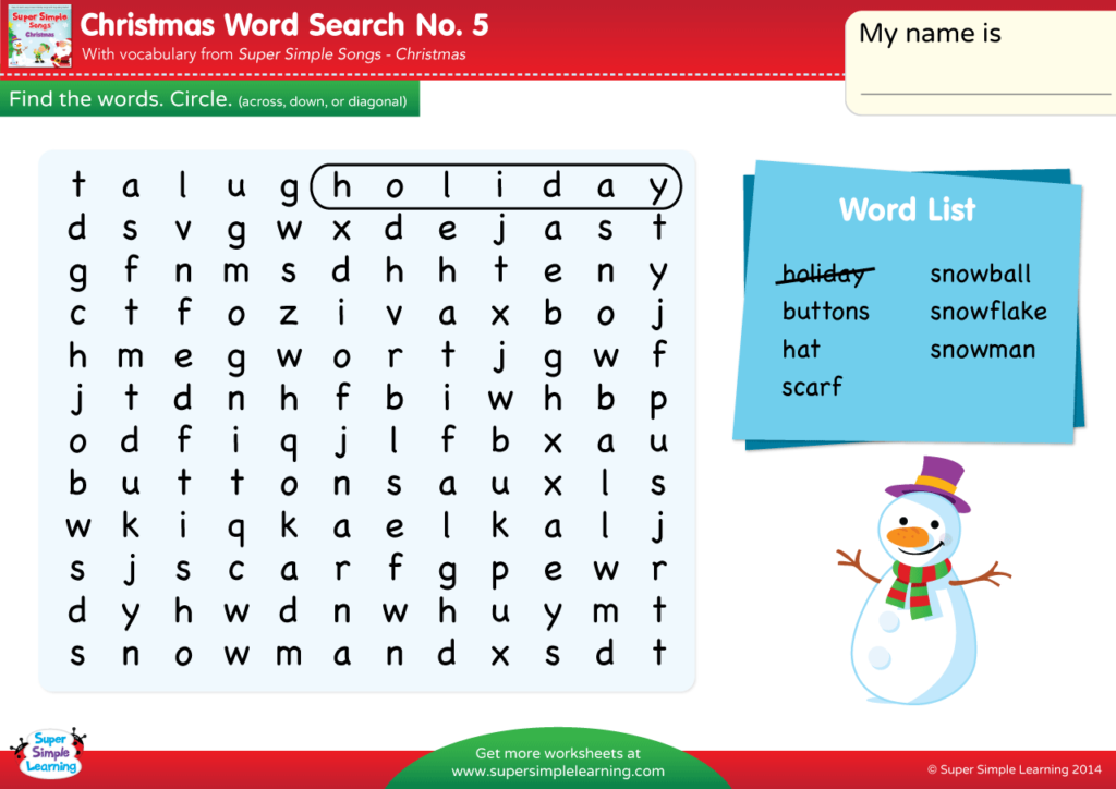 Christmas - Word Search #5 - Super Simple