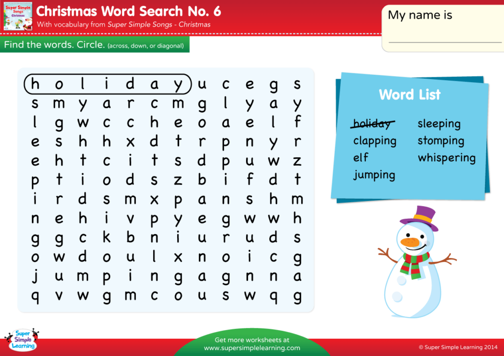 Christmas Spelling Words.Christmas Word Search 6 Super Simple