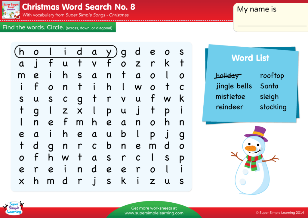 Christmas - Word Search #8 - Super Simple