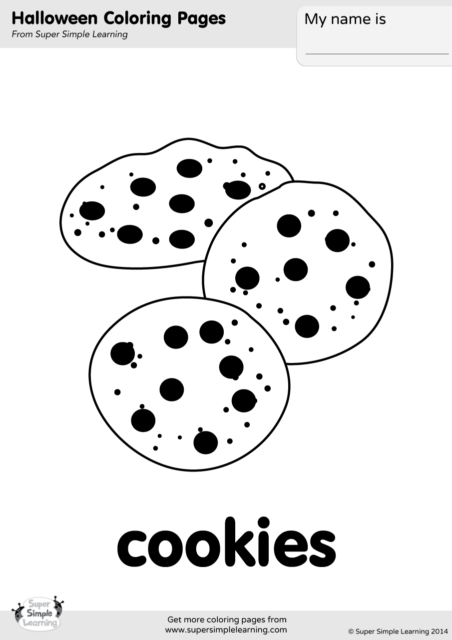 Cookies coloring page super simple for Cookie monster halloween coloring pages