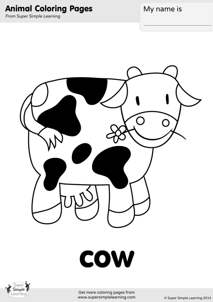 Cow Coloring Page Super Simple