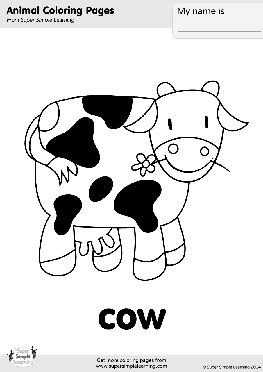 cow coloring page super simple. Black Bedroom Furniture Sets. Home Design Ideas