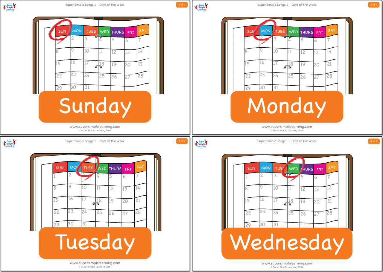 Days Of The Week Flashcards Super Simple